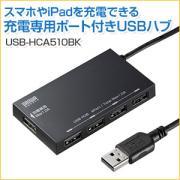 充電用USBポート搭載4ポートUSB2.0ハブ(ブラック)