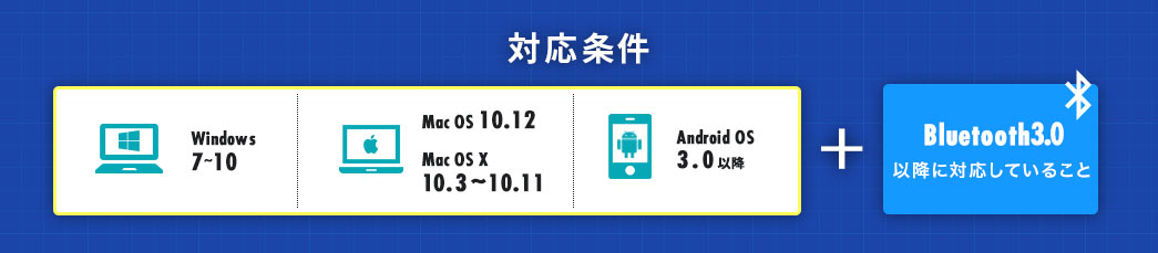 対応条件 Windows7~10 Mac OS 10.12 Max OS X10.3~10.11 Android OS3.0以降