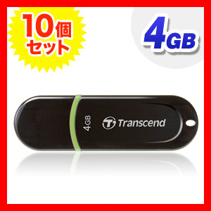 USBメモリ 4GB USB2.0 JetFlash300 TS4GJF300【10個セット】